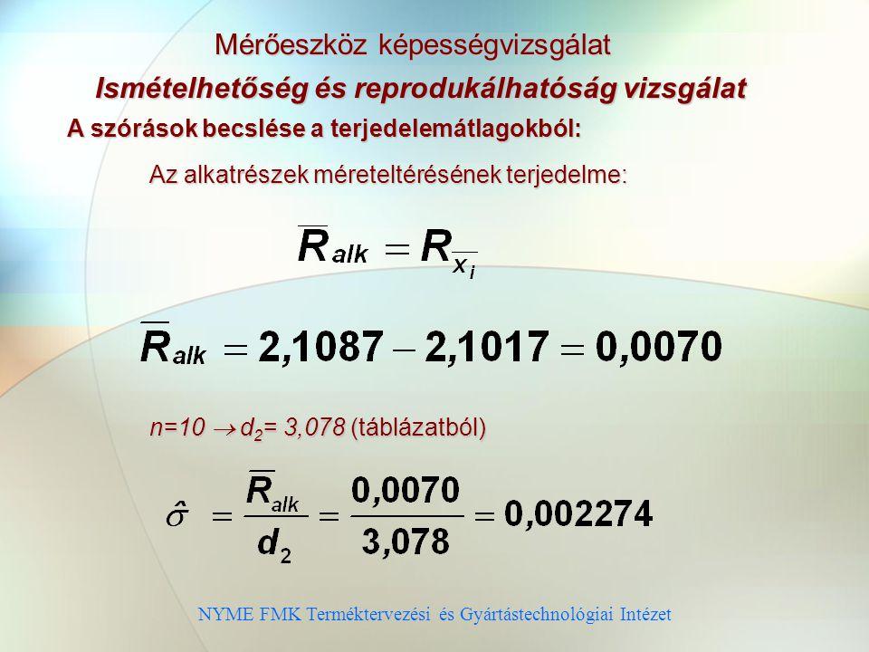 NYME FMK Terméktervezési és Gyártástechnológiai Intézet Mérőeszköz képességvizsgálat Ismételhetőség és reprodukálhatóság vizsgálat A szórások becslése a terjedelemátlagokból: Az alkatrészek méreteltérésének terjedelme: n=10  d 2 = 3,078 (táblázatból)