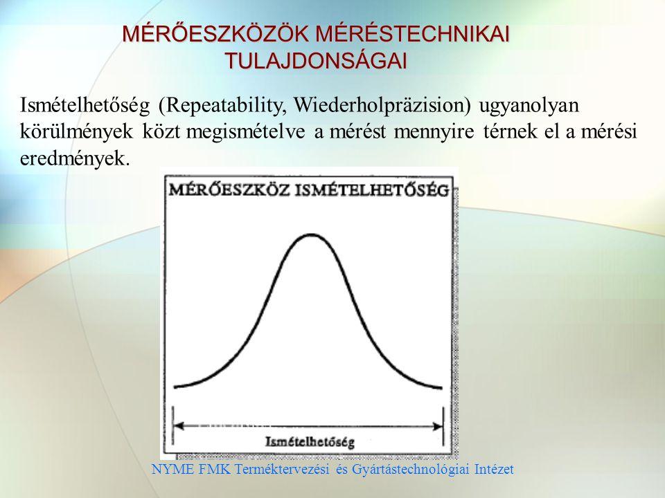 NYME FMK Terméktervezési és Gyártástechnológiai Intézet MÉRŐESZKÖZÖK MÉRÉSTECHNIKAI TULAJDONSÁGAI Ismételhetőség (Repeatability, Wiederholpräzision) ugyanolyan körülmények közt megismételve a mérést mennyire térnek el a mérési eredmények.
