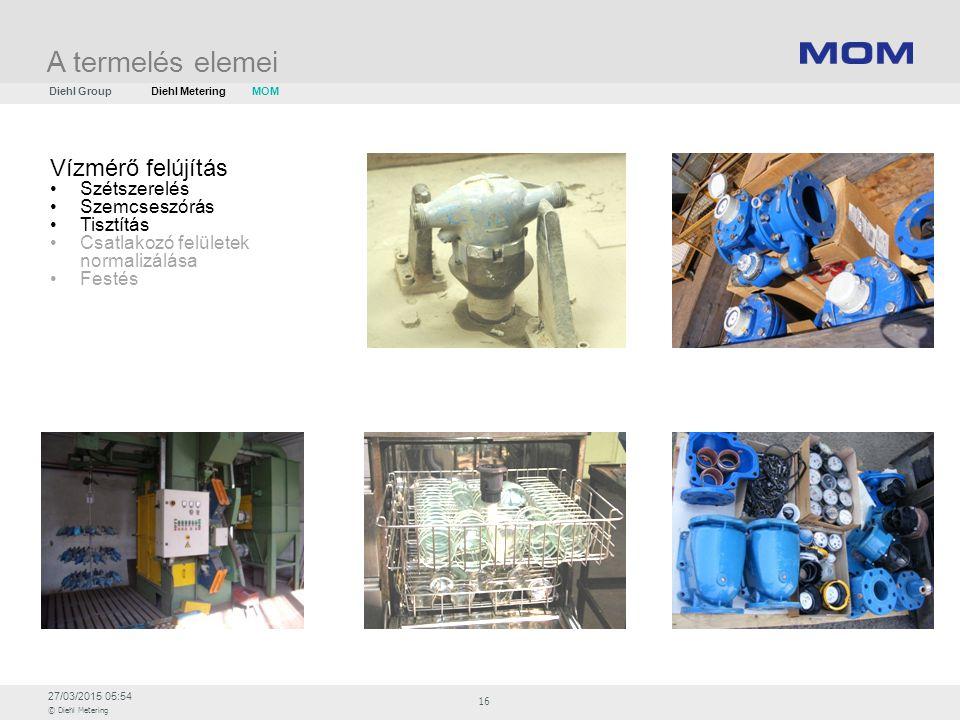 27/03/2015 05:54 © Diehl Metering 16 Vízmérő felújítás Szétszerelés Szemcseszórás Tisztítás Csatlakozó felületek normalizálása Festés A termelés eleme