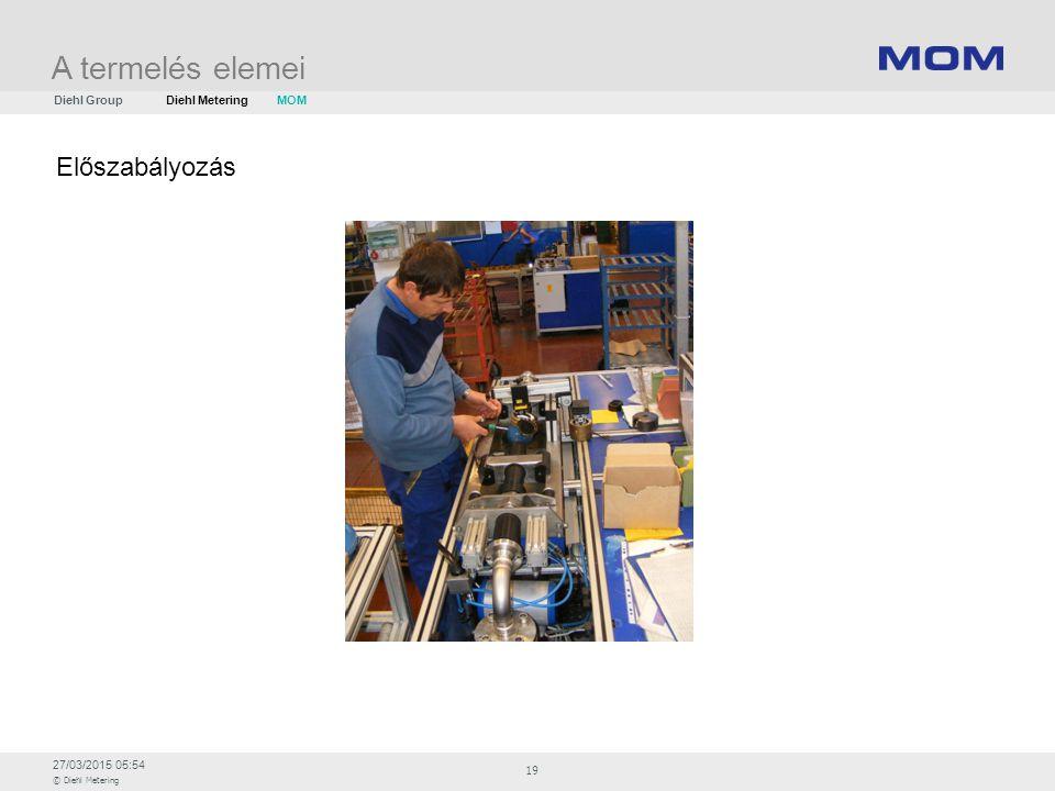 27/03/2015 05:54 © Diehl Metering 19 Előszabályozás A termelés elemei Diehl GroupDiehl Metering MOM
