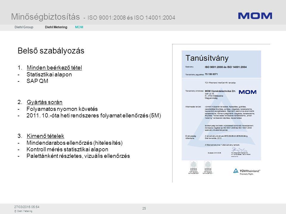 27/03/2015 05:54 © Diehl Metering 25 Minőségbiztosítás - ISO 9001:2008 és ISO 14001:2004 Belső szabályozás 1. Minden beérkező tétel -Statisztikai alap