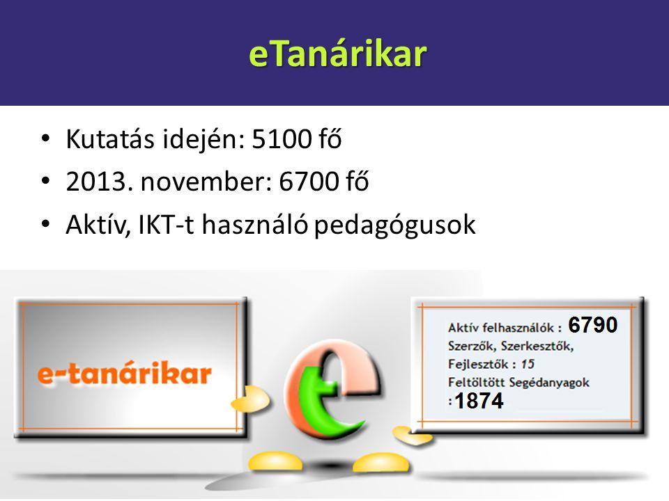 eTanárikar Kutatás idején: 5100 fő 2013. november: 6700 fő Aktív, IKT-t használó pedagógusok