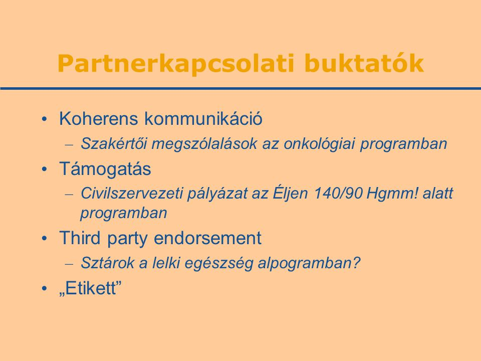 Partnerkapcsolati buktatók Koherens kommunikáció – Szakértői megszólalások az onkológiai programban Támogatás – Civilszervezeti pályázat az Éljen 140/90 Hgmm.