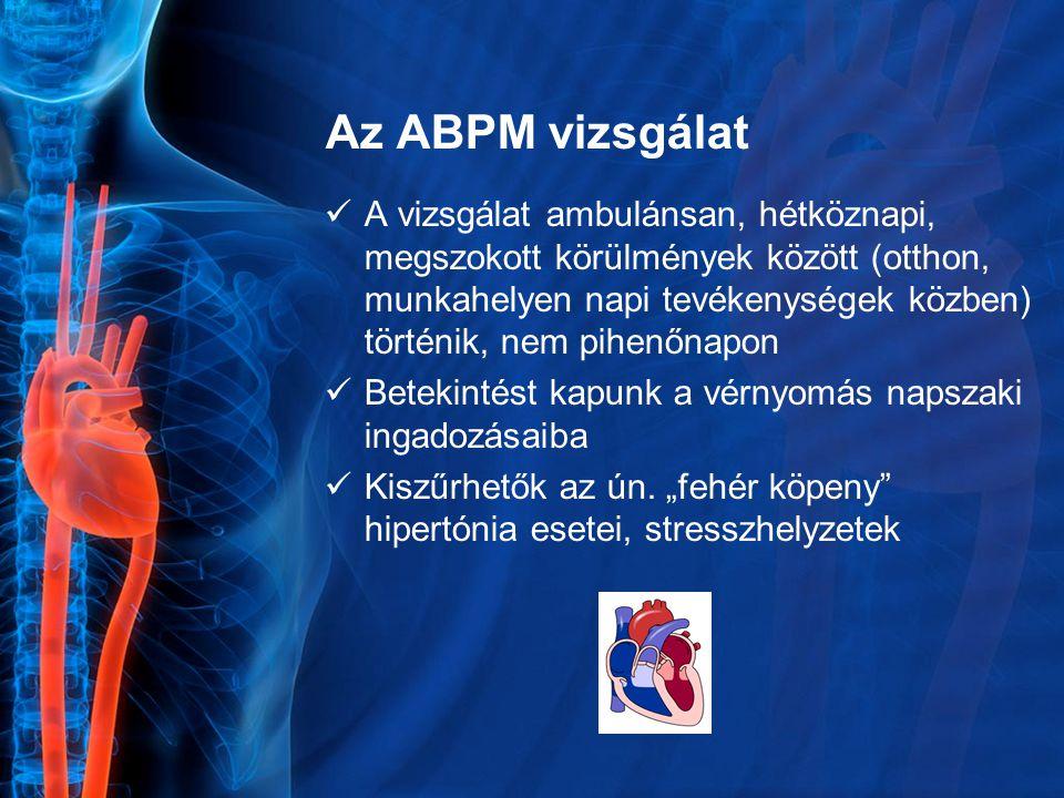 Az ABPM vizsgálat A vizsgálat ambulánsan, hétköznapi, megszokott körülmények között (otthon, munkahelyen napi tevékenységek közben) történik, nem pihe