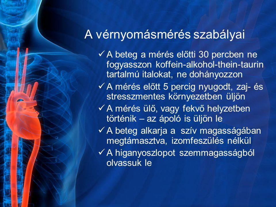 A vérnyomásmérés szabályai A beteg a mérés előtti 30 percben ne fogyasszon koffein-alkohol-thein-taurin tartalmú italokat, ne dohányozzon A mérés előt