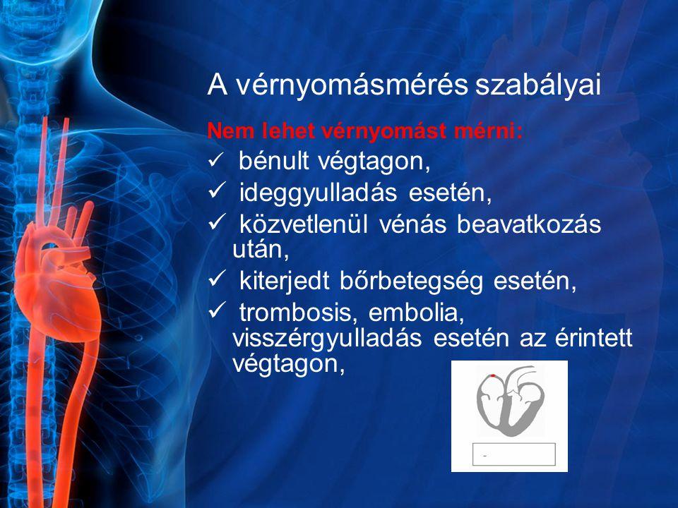 A vérnyomásmérés szabályai Nem lehet vérnyomást mérni: bénult végtagon, ideggyulladás esetén, közvetlenül vénás beavatkozás után, kiterjedt bőrbetegsé