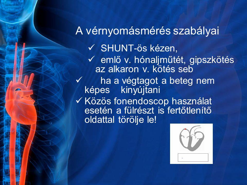 A vérnyomásmérés szabályai SHUNT-ös kézen, emlő v. hónaljműtét, gipszkötés az alkaron v. kötés seb ha a végtagot a beteg nem képes kinyújtani Közös fo