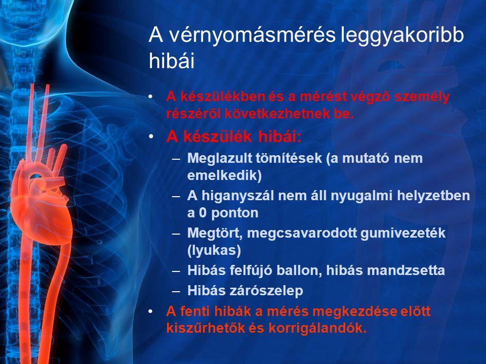 A vérnyomásmérés leggyakoribb hibái A készülékben és a mérést végző személy részéről következhetnek be. A készülék hibái: –Meglazult tömítések (a muta