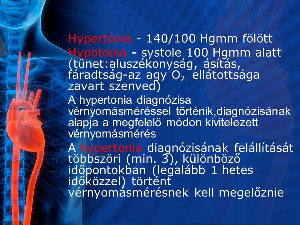 Hypertónia - 140/100 Hgmm fölött Hypotonia - systole 100 Hgmm alatt (tünet:aluszékonyság, ásítás, fáradtság-az agy O 2 ellátottsága zavart szenved) A