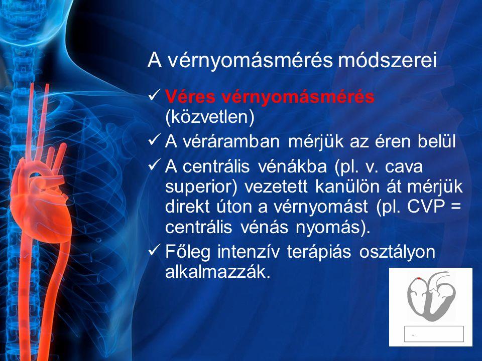 A vérnyomásmérés módszerei Véres vérnyomásmérés (közvetlen) A véráramban mérjük az éren belül A centrális vénákba (pl. v. cava superior) vezetett kanü