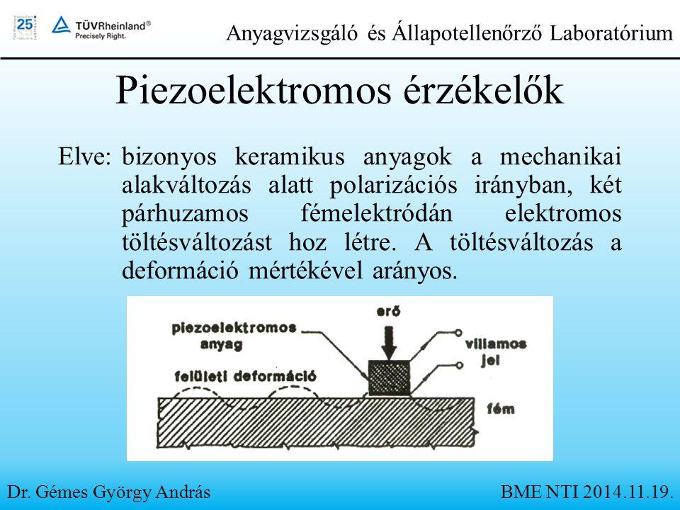 Piezoelektromos érzékelők Elve:bizonyos keramikus anyagok a mechanikai alakváltozás alatt polarizációs irányban, két párhuzamos fémelektródán elektrom
