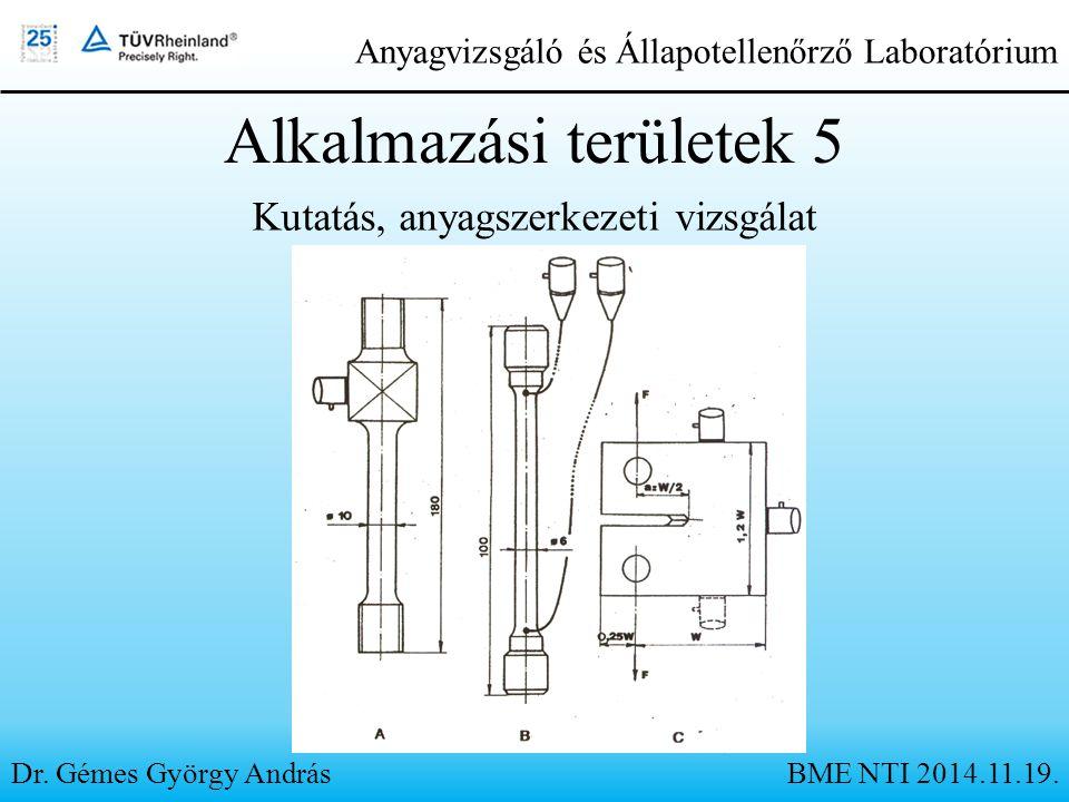 Alkalmazási területek 5 Kutatás, anyagszerkezeti vizsgálat Dr. Gémes György András Anyagvizsgáló és Állapotellenőrző Laboratórium BME NTI 2014.11.19.