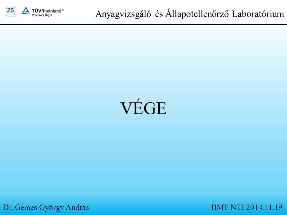 VÉGE Dr. Gémes György András Anyagvizsgáló és Állapotellenőrző Laboratórium BME NTI 2014.11.19.