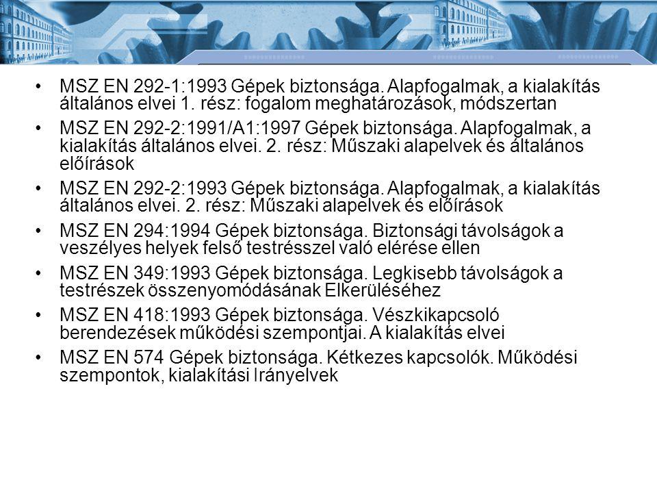 MSZ EN 292-1:1993 Gépek biztonsága.Alapfogalmak, a kialakítás általános elvei 1.