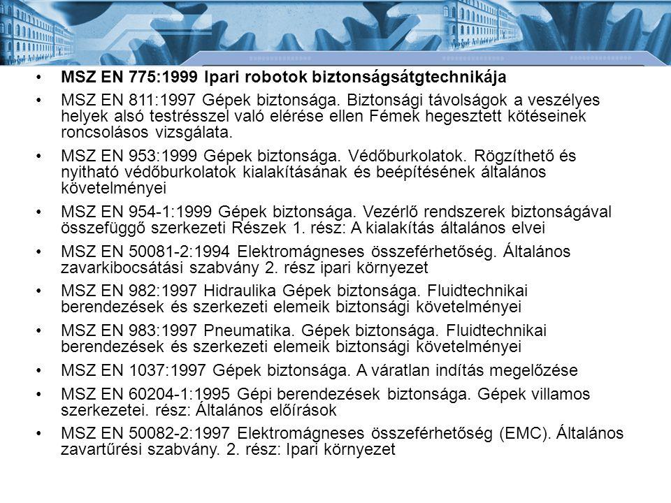 MSZ EN 775:1999 Ipari robotok biztonságsátgtechnikája MSZ EN 811:1997 Gépek biztonsága.