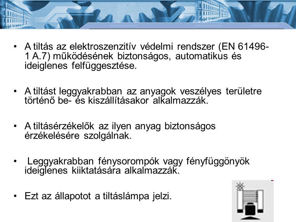 A tiltás az elektroszenzitív védelmi rendszer (EN 61496- 1 A.7) működésének biztonságos, automatikus és ideiglenes felfüggesztése.