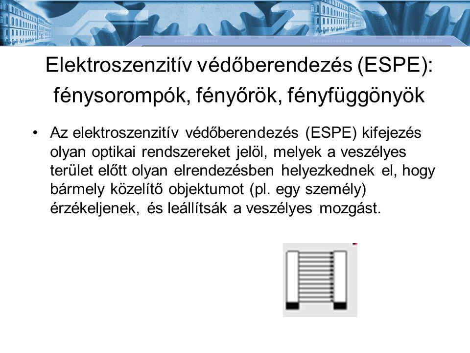 Elektroszenzitív védőberendezés (ESPE): fénysorompók, fényőrök, fényfüggönyök Az elektroszenzitív védőberendezés (ESPE) kifejezés olyan optikai rendszereket jelöl, melyek a veszélyes terület előtt olyan elrendezésben helyezkednek el, hogy bármely közelítő objektumot (pl.