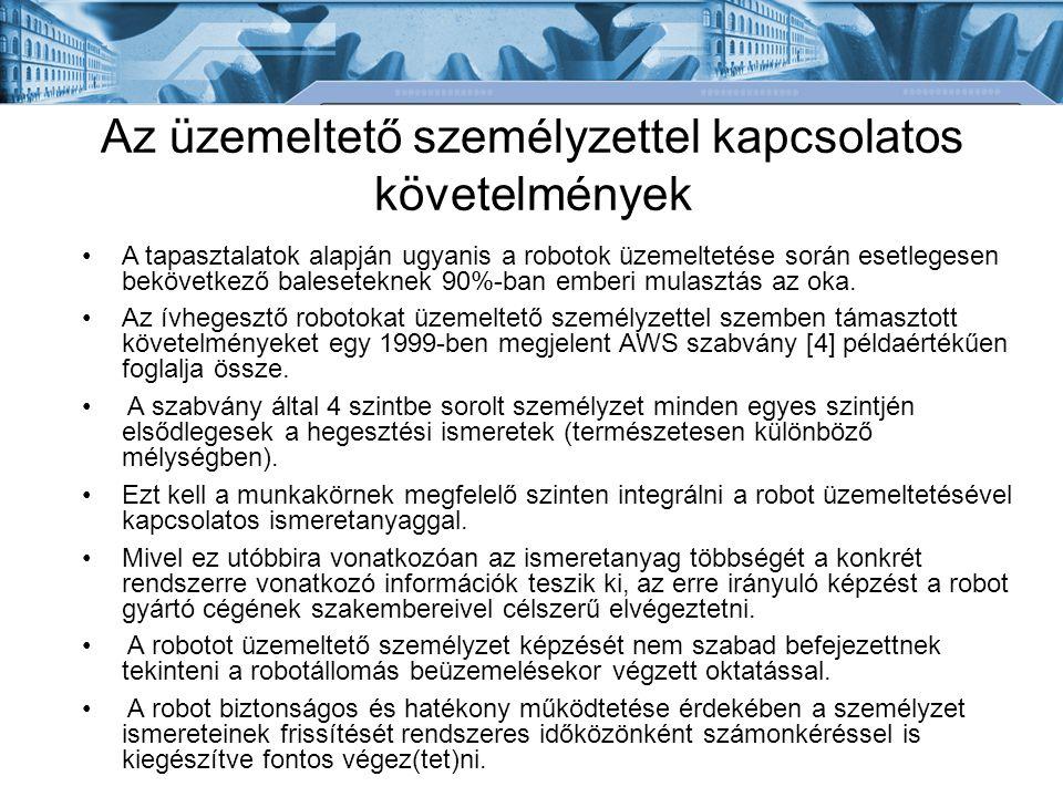 Az üzemeltető személyzettel kapcsolatos követelmények A tapasztalatok alapján ugyanis a robotok üzemeltetése során esetlegesen bekövetkező baleseteknek 90%-ban emberi mulasztás az oka.