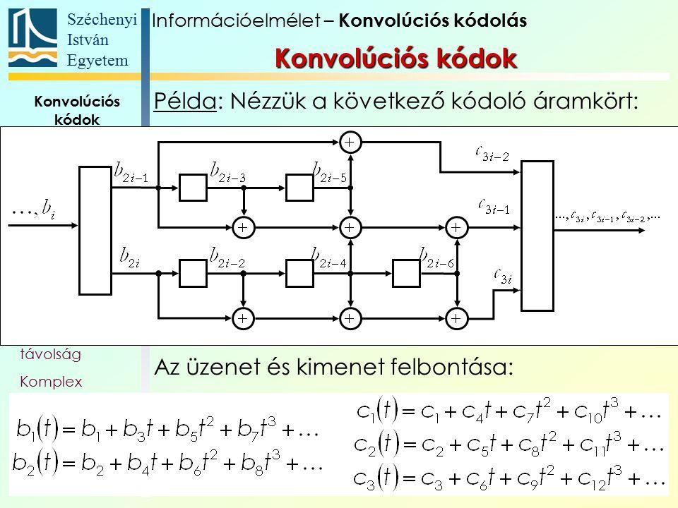 Széchenyi István Egyetem 21 Konvolúciós kódok Alapfogalmak Állapotát- meneti gráf Trellis Polinom- reprezentáció Katasztrofális kódoló Szabad távolság