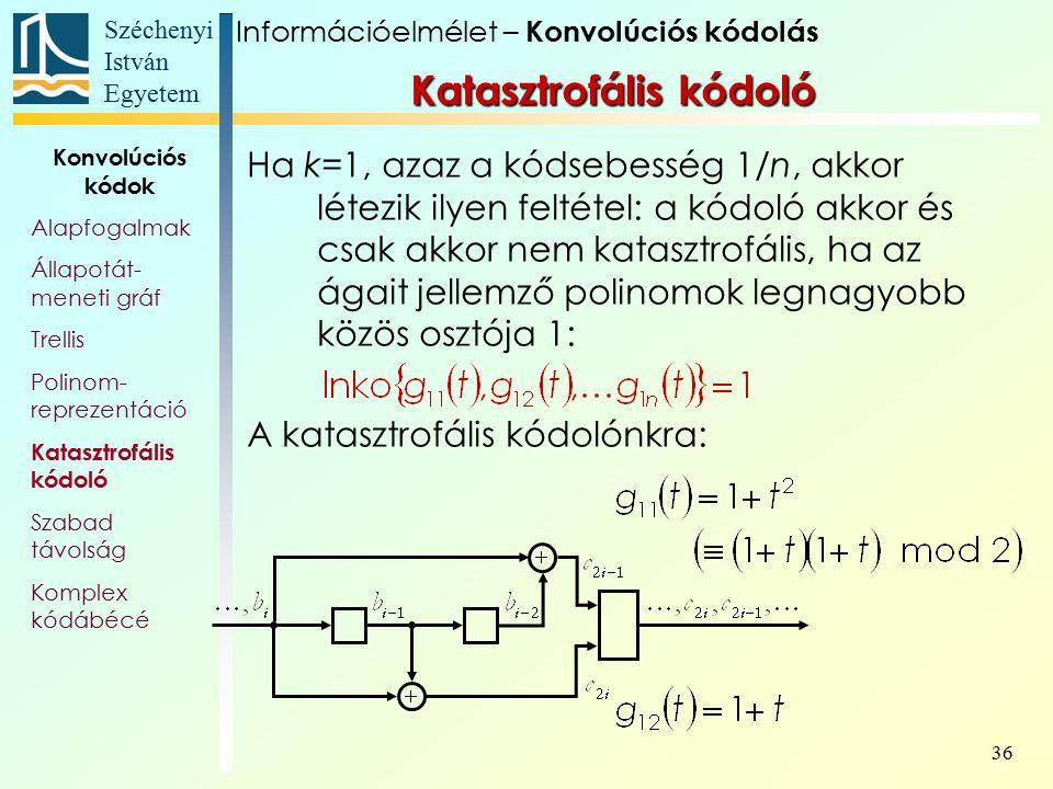 Széchenyi István Egyetem 36 Ha k=1, azaz a kódsebesség 1/n, akkor létezik ilyen feltétel: a kódoló akkor és csak akkor nem katasztrofális, ha az ágait