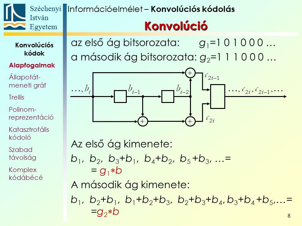 Széchenyi István Egyetem 9 Kódfa Példaként nézzük a kódolónk bináris fáját: 0 1 – bemeneti bitek i j – kimeneti bitpárosok Információelmélet – Konvolúciós kódolás Konvolúciós kódok Alapfogalmak Állapotát- meneti gráf Trellis Polinom- reprezentáció Katasztrofális kódoló Szabad távolság Komplex kódábécé