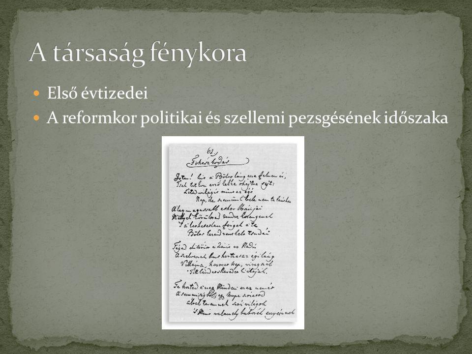 Első évtizedei A reformkor politikai és szellemi pezsgésének időszaka