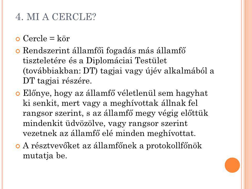 4. MI A CERCLE? Cercle = kör Rendszerint államfői fogadás más államfő tiszteletére és a Diplomáciai Testület (továbbiakban: DT) tagjai vagy újév alkal