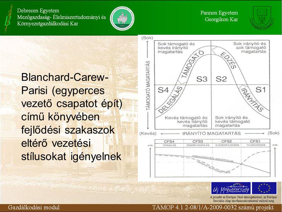 Blanchard-Carew- Parisi (egyperces vezető csapatot épít) című könyvében fejlődési szakaszok eltérő vezetési stílusokat igényelnek