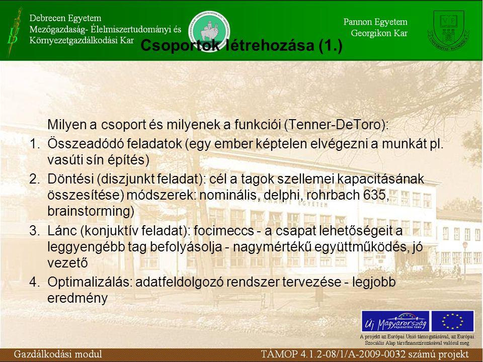 Csoportok létrehozása (1.) Milyen a csoport és milyenek a funkciói (Tenner-DeToro): 1.Összeadódó feladatok (egy ember képtelen elvégezni a munkát pl.
