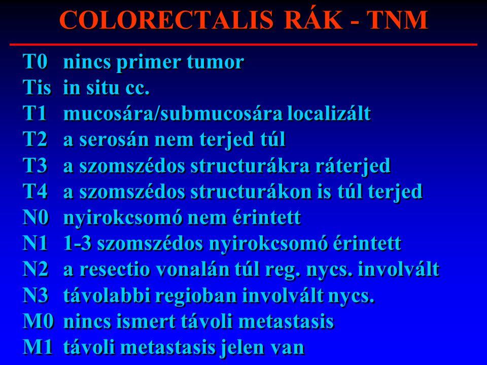 COLORECTALIS RÁK - TNM T0nincs primer tumor Tisin situ cc. T1mucosára/submucosára localizált T2a serosán nem terjed túl T3a szomszédos structurákra rá