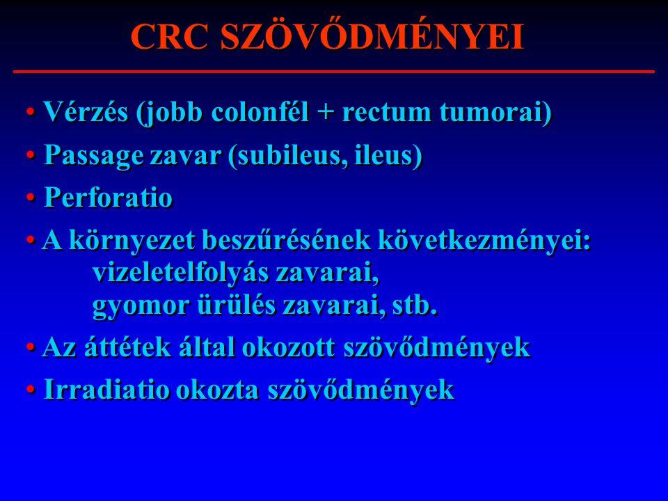 CRC SZÖVŐDMÉNYEI Vérzés (jobb colonfél + rectum tumorai) Passage zavar (subileus, ileus) Perforatio A környezet beszűrésének következményei: vizeletel