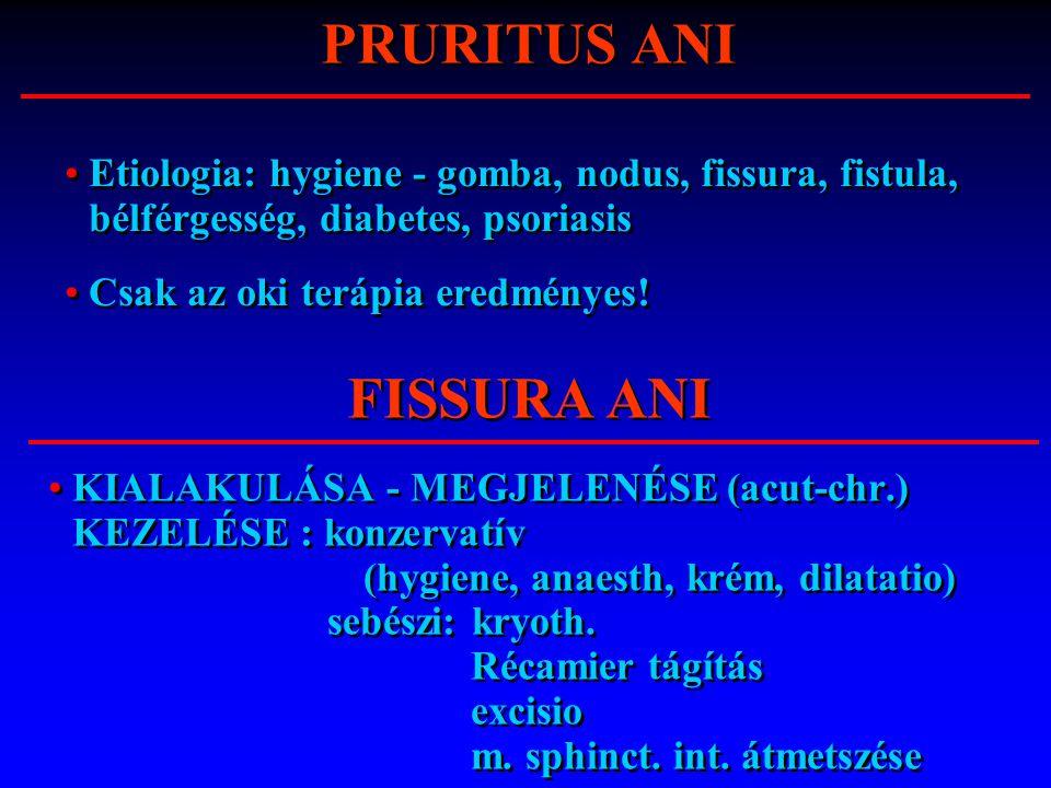 KIALAKULÁSA - MEGJELENÉSE (acut-chr.) KEZELÉSE : konzervatív (hygiene, anaesth, krém, dilatatio) sebészi: kryoth. Récamier tágítás excisio m. sphinct.