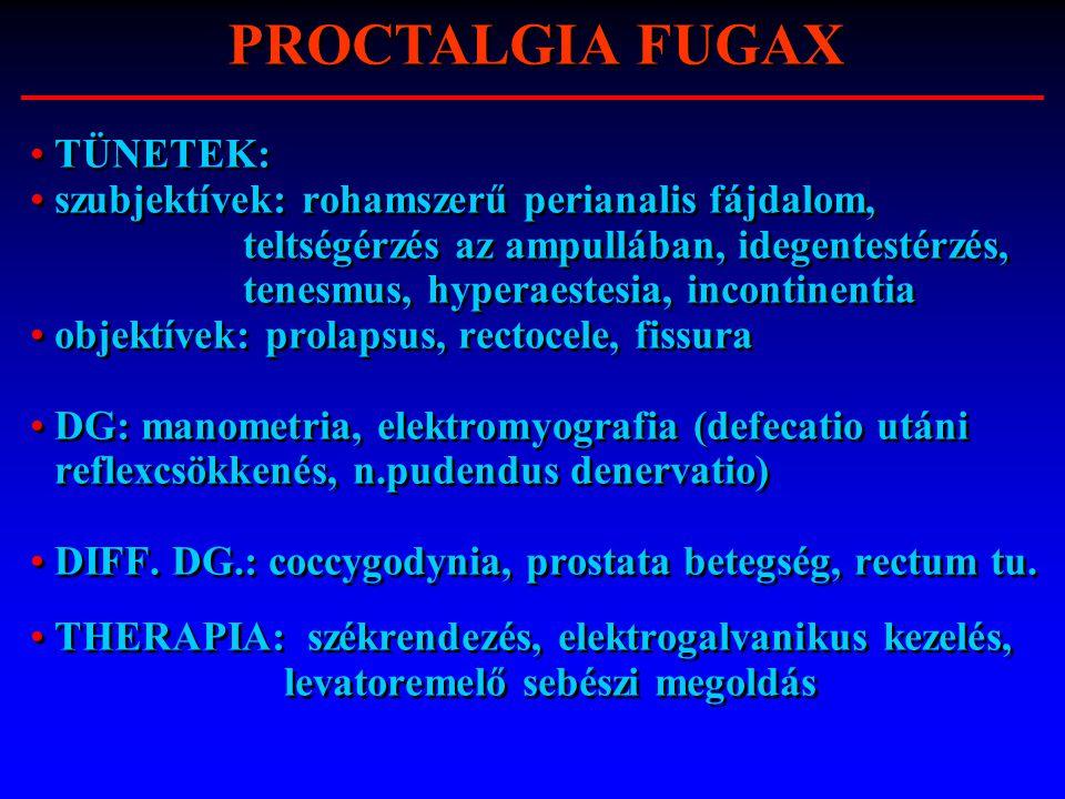 TÜNETEK: szubjektívek: rohamszerű perianalis fájdalom, teltségérzés az ampullában, idegentestérzés, tenesmus, hyperaestesia, incontinentia objektívek: