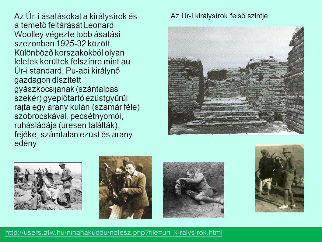 http://users.atw.hu/ninahakuddu/notesz.php?file=uri_kiralysirok.html Az Ur-i királysírok felső szintje Az Úr-i ásatásokat a királysírok és a temető fe