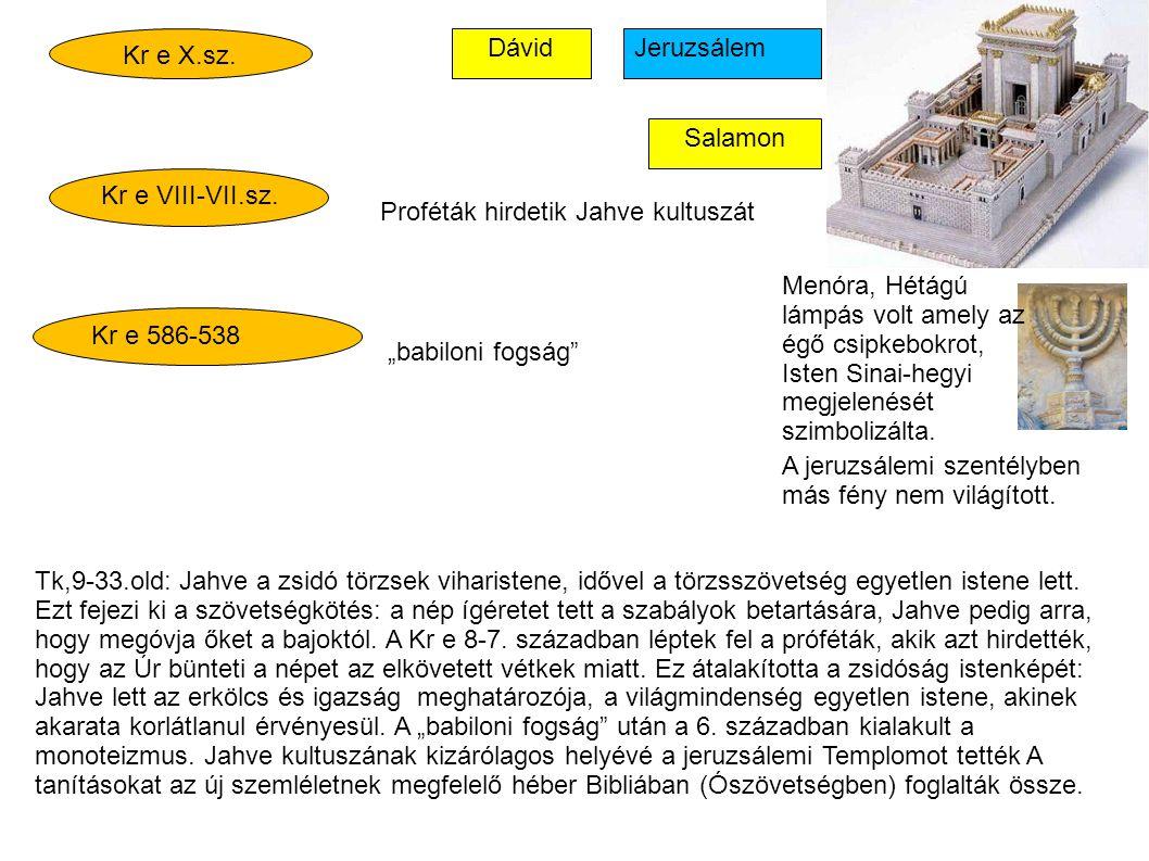 """Kr e X.sz. Kr e VIII-VII.sz. Kr e 586-538 Dávid Salamon Jeruzsálem Proféták hirdetik Jahve kultuszát """"babiloni fogság"""" Menóra, Hétágú lámpás volt amel"""
