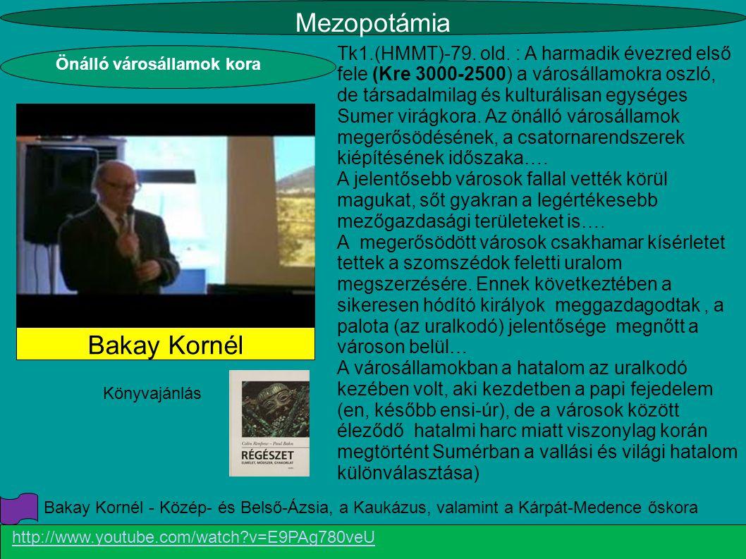 Mezopotámia http://www.youtube.com/watch?v=E9PAg780veU Bakay Kornél Tk1.(HMMT)-79. old. : A harmadik évezred első fele (Kre 3000-2500) a városállamokr