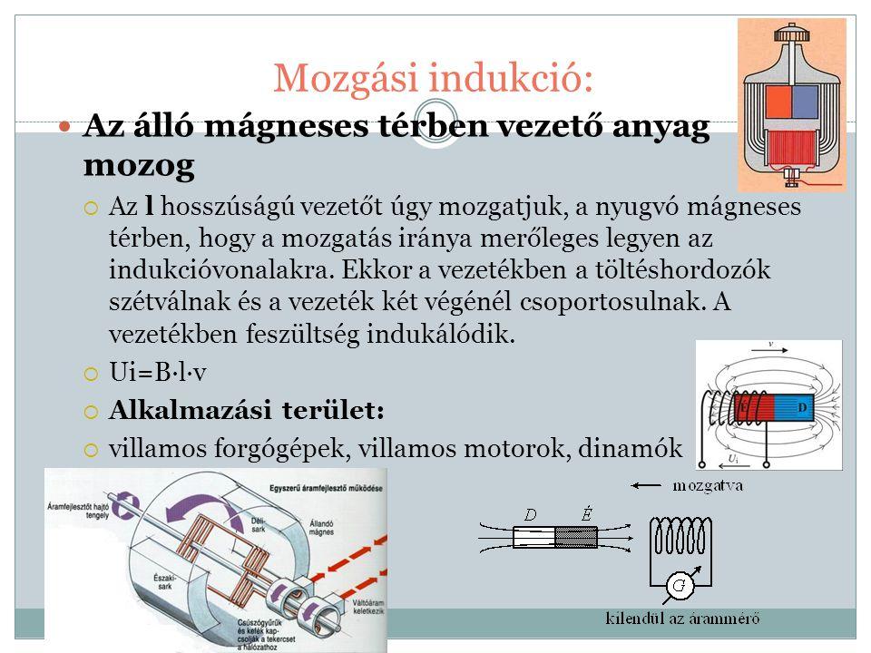 Mozgási indukció: Az álló mágneses térben vezető anyag mozog  Az l hosszúságú vezetőt úgy mozgatjuk, a nyugvó mágneses térben, hogy a mozgatás iránya