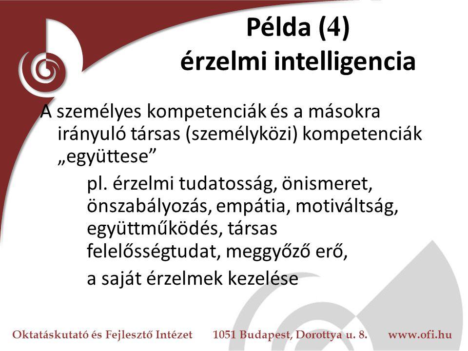 Oktatáskutató és Fejlesztő Intézet 1051 Budapest, Dorottya u. 8. www.ofi.hu Példa ( 4 ) érzelmi intelligencia A személyes kompetenciák és a másokra ir