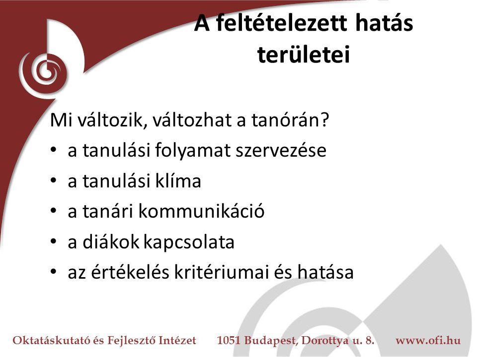 Oktatáskutató és Fejlesztő Intézet 1051 Budapest, Dorottya u. 8. www.ofi.hu A feltételezett hatás területei Mi változik, változhat a tanórán? a tanulá