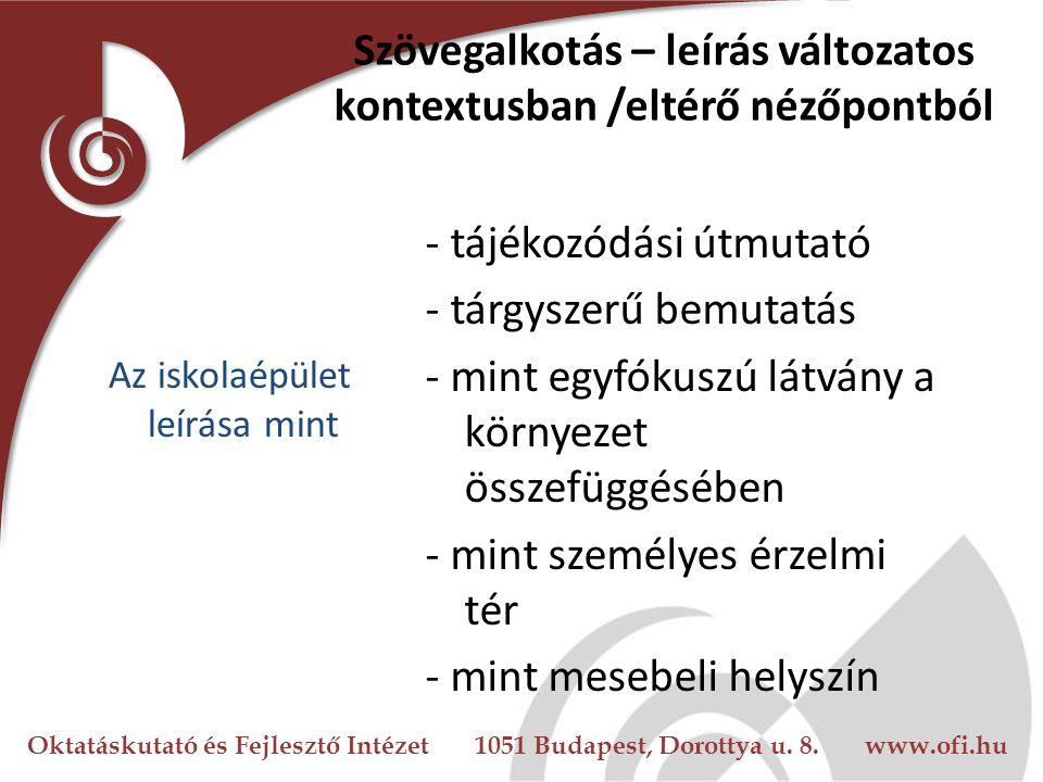 Oktatáskutató és Fejlesztő Intézet 1051 Budapest, Dorottya u. 8. www.ofi.hu Szövegalkotás – leírás változatos kontextusban /eltérő nézőpontból Az isko