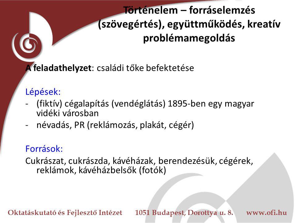 Oktatáskutató és Fejlesztő Intézet 1051 Budapest, Dorottya u. 8. www.ofi.hu Történelem – forráselemzés (szövegértés), együttműködés, kreatív problémam