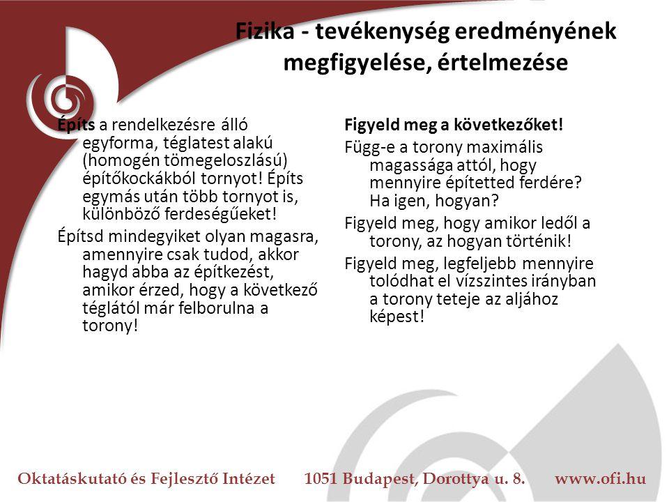 Oktatáskutató és Fejlesztő Intézet 1051 Budapest, Dorottya u. 8. www.ofi.hu Fizika - tevékenység eredményének megfigyelése, értelmezése Építs a rendel