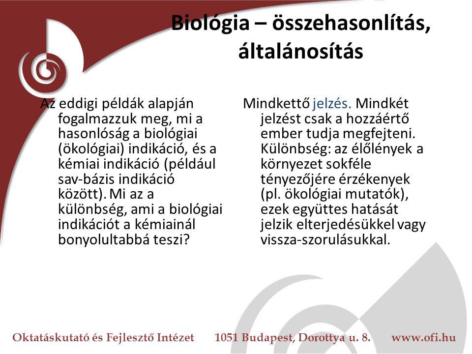 Oktatáskutató és Fejlesztő Intézet 1051 Budapest, Dorottya u. 8. www.ofi.hu Biológia – összehasonlítás, általánosítás Az eddigi példák alapján fogalma