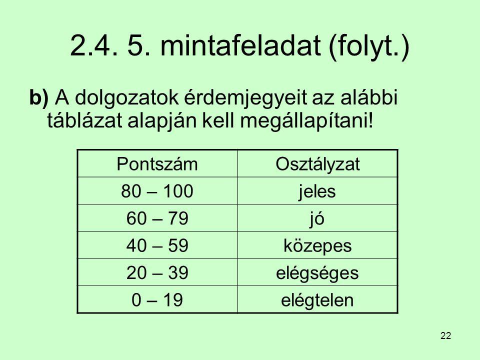 22 2.4. 5. mintafeladat (folyt.) b) A dolgozatok érdemjegyeit az alábbi táblázat alapján kell megállapítani! PontszámOsztályzat 80 – 100jeles 60 – 79j