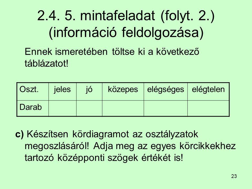 23 2.4. 5. mintafeladat (folyt. 2.) (információ feldolgozása) Ennek ismeretében töltse ki a következő táblázatot! c) Készítsen kördiagramot az osztály