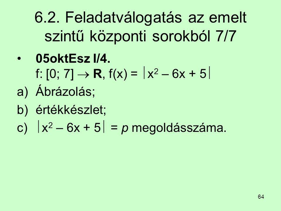 64 6.2. Feladatválogatás az emelt szintű központi sorokból 7/7 05oktEsz I/4. f: [0; 7]  R, f(x) =  x 2 – 6x + 5  a)Ábrázolás; b)értékkészlet; c) 