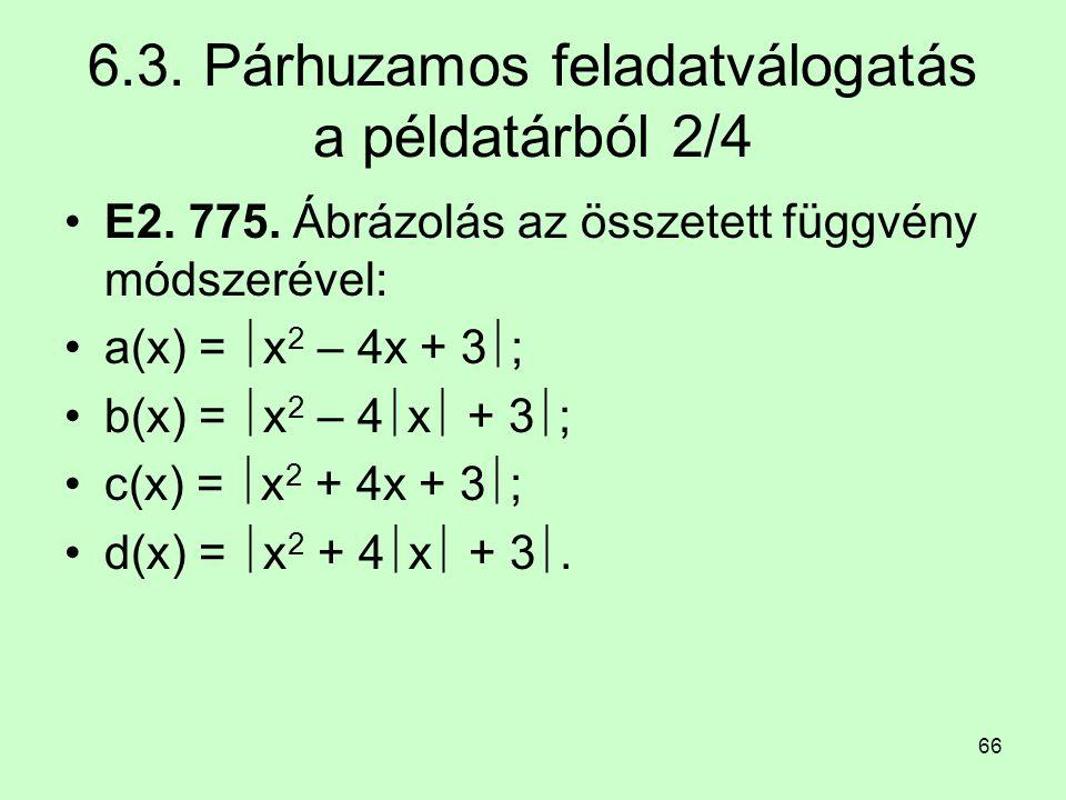 66 6.3. Párhuzamos feladatválogatás a példatárból 2/4 E2. 775. Ábrázolás az összetett függvény módszerével: a(x) =  x 2 – 4x + 3  ; b(x) =  x 2 – 4