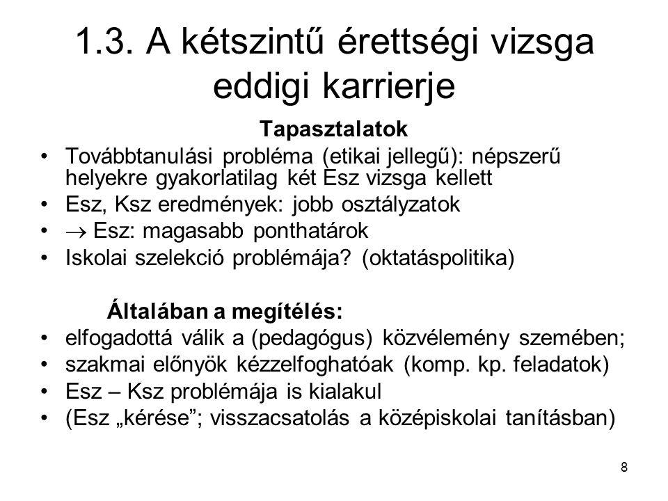 8 1.3. A kétszintű érettségi vizsga eddigi karrierje Tapasztalatok Továbbtanulási probléma (etikai jellegű): népszerű helyekre gyakorlatilag két Esz v
