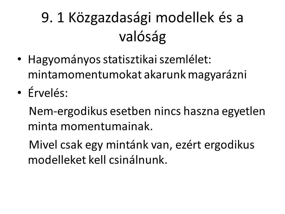 9. 1 Közgazdasági modellek és a valóság Hagyományos statisztikai szemlélet: mintamomentumokat akarunk magyarázni Érvelés: Nem-ergodikus esetben nincs
