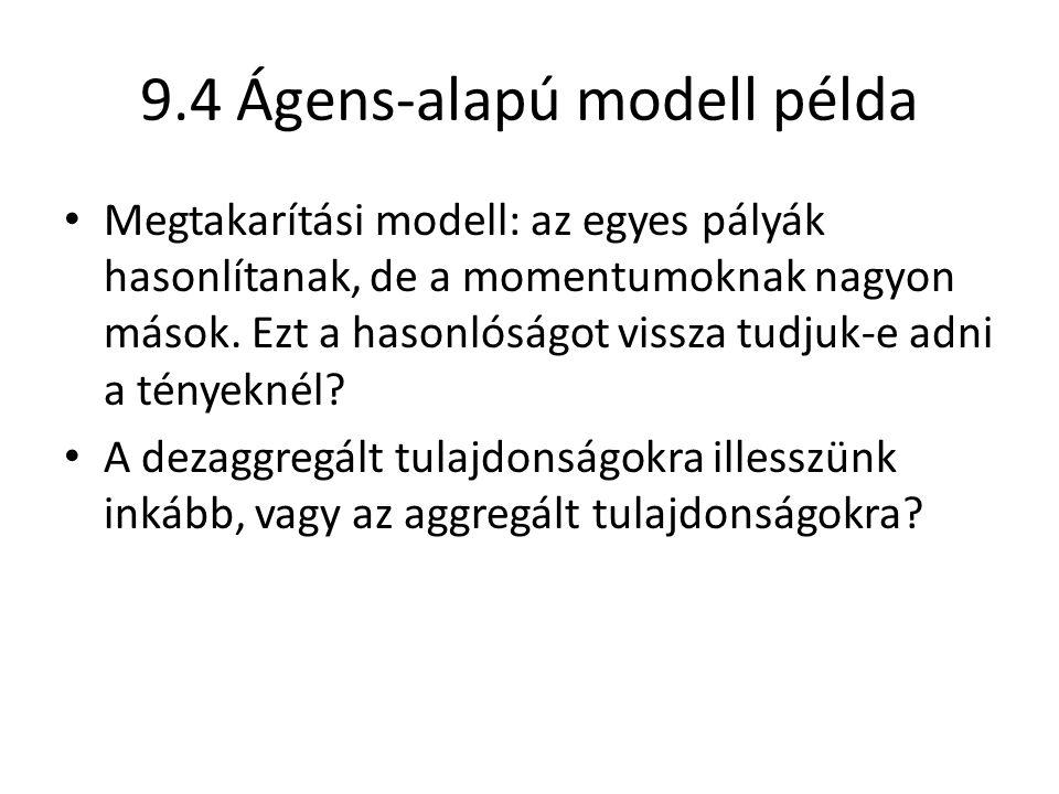 9.4 Ágens-alapú modell példa Megtakarítási modell: az egyes pályák hasonlítanak, de a momentumoknak nagyon mások. Ezt a hasonlóságot vissza tudjuk-e a